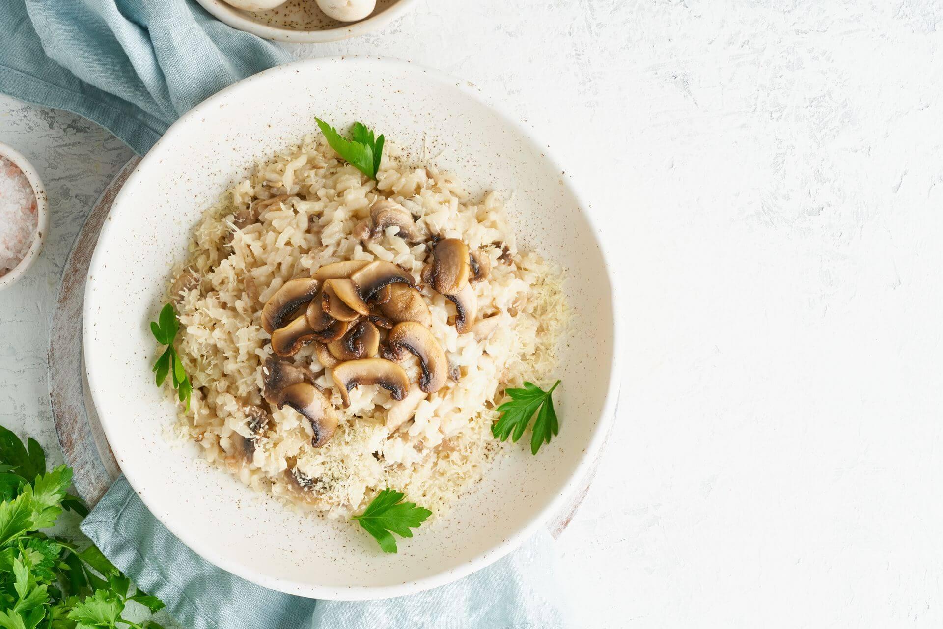 сливочный рис с грибами рецепт