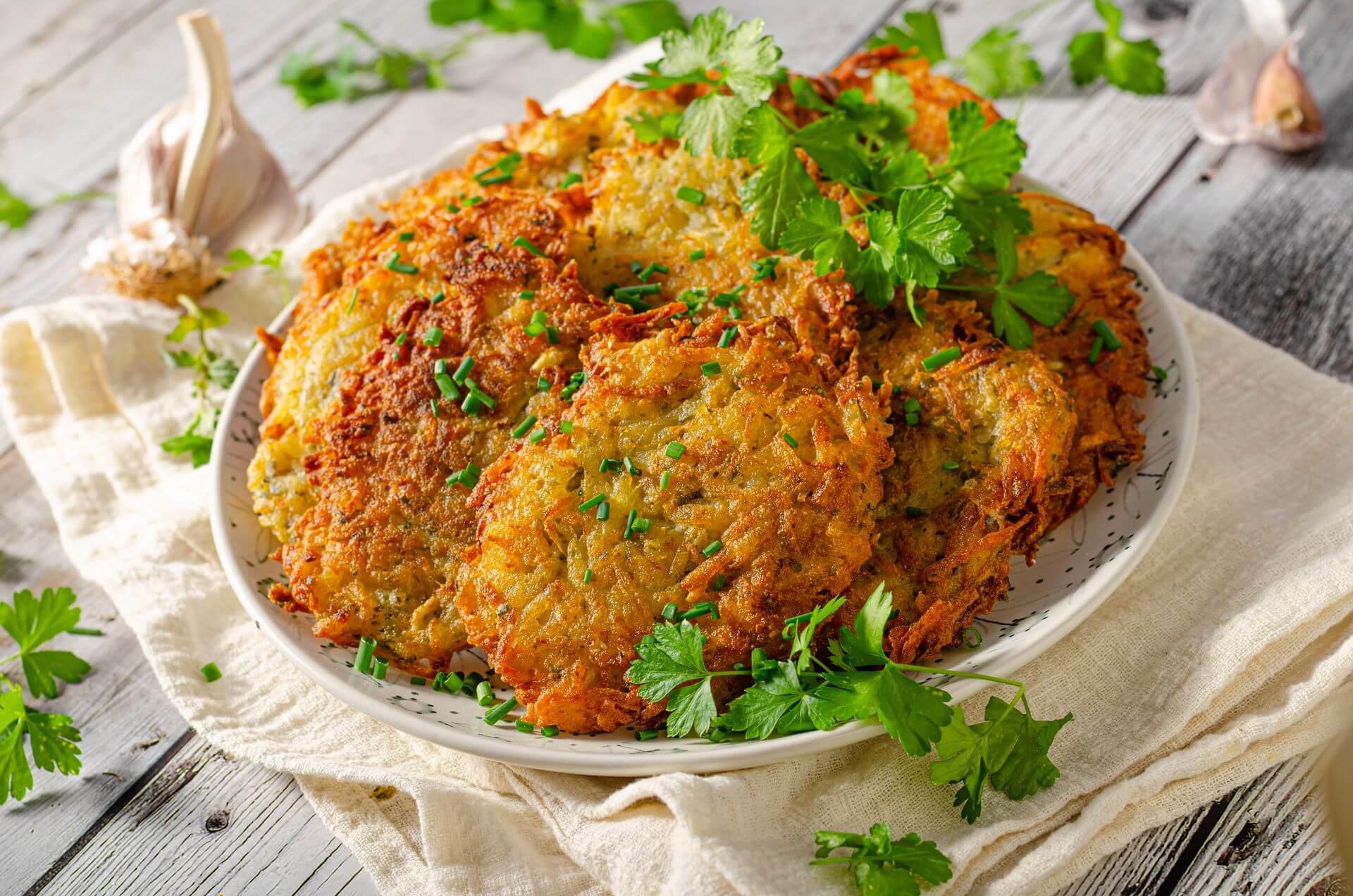 Картофельные блины с беконом